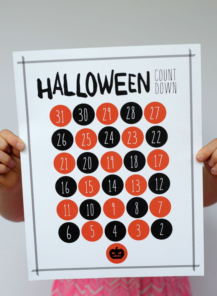 Countdown to Halloween! We've made a free printable for you and the kids to count down the days until All Hallow's Eve.