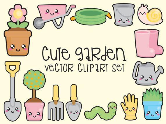 Premium Vector Clipart - Kawaii Gardening Clipart - Kawaii Garden Clip Art Set - High Quality Vectors - Instant Download - Kawaii Clipart