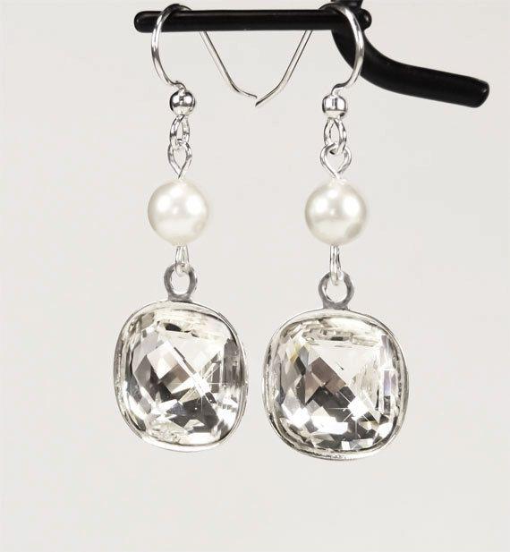 Bridesmaids Earrings Swarovski Crystal and by PixieDustFineries