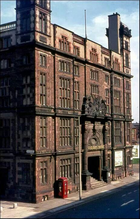 The Liverpool Sailors Home 1953. A beautiful building demolished in 1974 for no apparent reason. Its construction was paid for by donations from shipping companies and the public. The gates were kept and have been reinstated in their original place which is now part of Liverpool One.