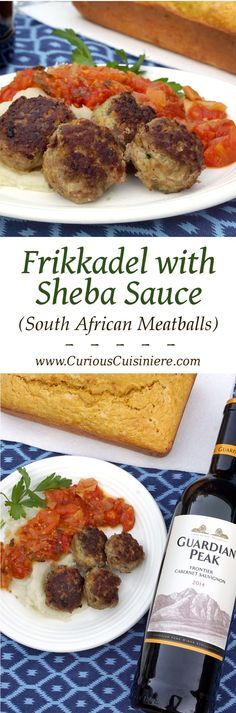 Frikkadel are a lightly spiced South African meatball that are often served with a sweet and herby tomato sauce, making a wonderfully comforting dinner that pairs perfectly with a South African Cabernet Sauvignon.   www.CuriousCuisiniere.com