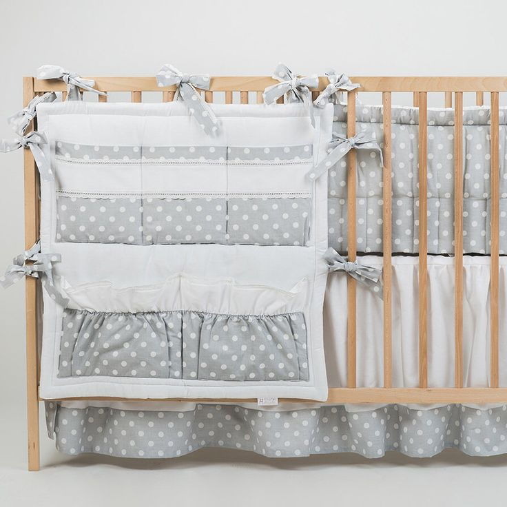 Crib organizer bed pocket organizer Mist - Gray Blue Palle Pink - Baby room decor toy storage with lace by CotandCot on Etsy https://www.etsy.com/listing/224432120/crib-organizer-bed-pocket-organizer-mist