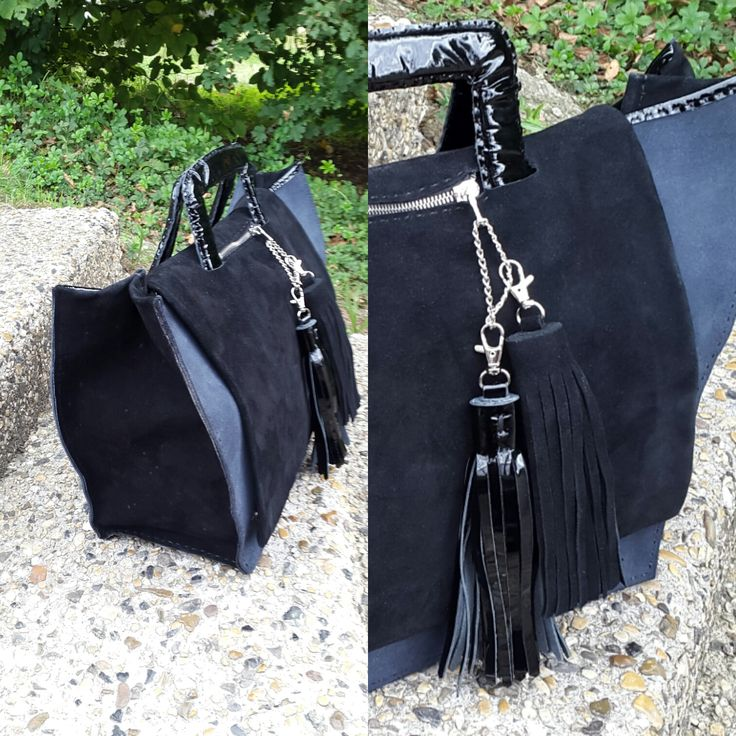 Leather Tote bag - Ses grands vantaux en suede noir offre une enorme capacité.  Sac en cuir- leather handbag  by @chryce.maroquinerie