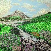 Irish Art Archive Alan Hogan  #irishartist #ireland #mounterrigal #discoverireland #donegal #gweedore #paintings #art #canvas #greatartists #landscapes #mountains #greenery #stream #flowers #scenic