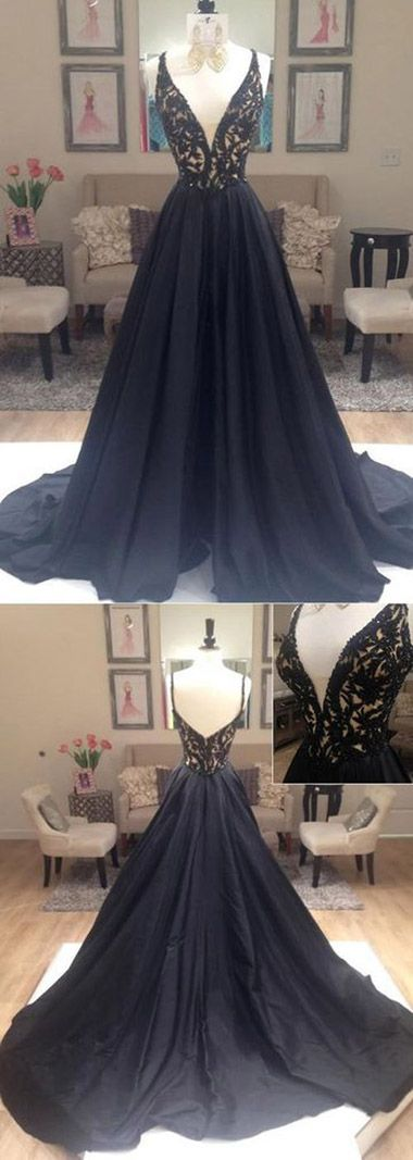 Black Open Back Long Spaghetti Straps Evening Dress,Modest Formal Dress  #Black #Openback #Spaghettistraps #Formaldresses