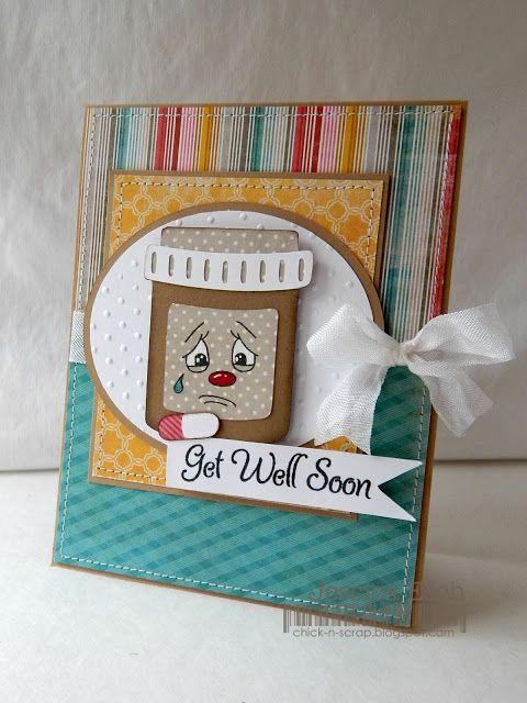 Get well card using Peachy Keen Stamps, My Creative Time and Pretty Paper Pretty Ribbon cut files
