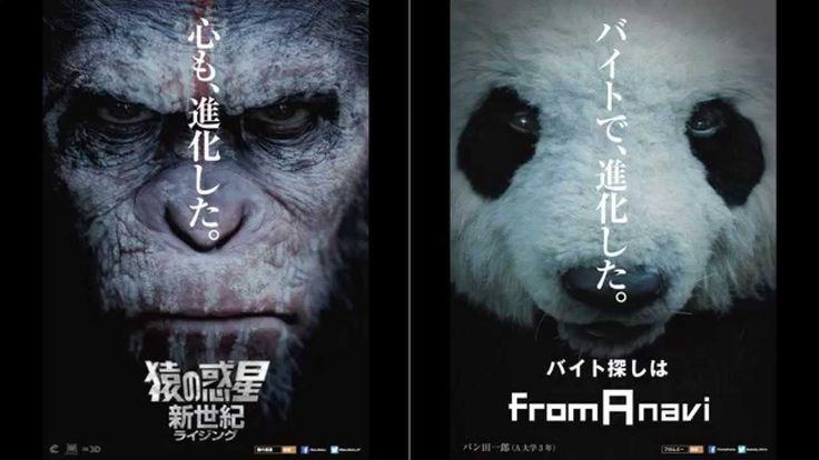 """猿のカリスマ的リーダーの""""シーザー""""と「フロム・エーナビ」のCMで大人気のキャラクター""""パン田一郎""""とのまさかのコラボが実現! シーザーのリーダーシップに憧れて、映画館バイトを頑張るパン田くん。そんな2人(?)に衝撃の事件が!シーザーとパン田くんの運命はどうなるのか? 『猿の惑星:新世紀(ライジング)』公式サイト..."""