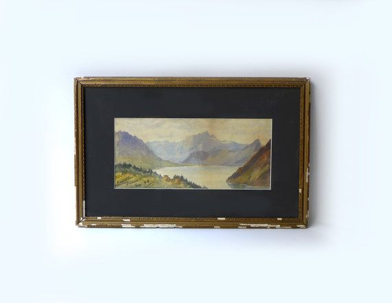 Antique 1800s original watercolour painting Mt Pilatus by evaelena