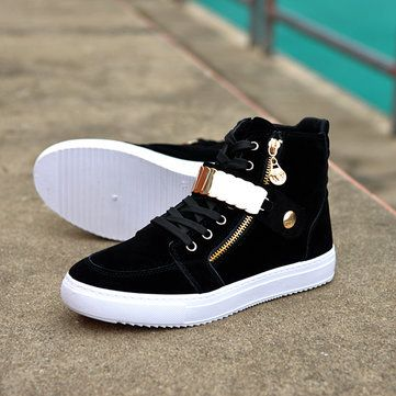 Men Outdoor Shoes High Top Flat Lace Up Suede Casual Sneakers - US$33.47