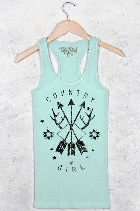 Women's Country Girl® Arrows Fitted Racerback Tank   Our Women's Fashion Fit Racerback Tank features a stylish 1x1 mini rib and a longer length flattering fitted cut. It's made with soft 5.8 oz. 100% cotton.