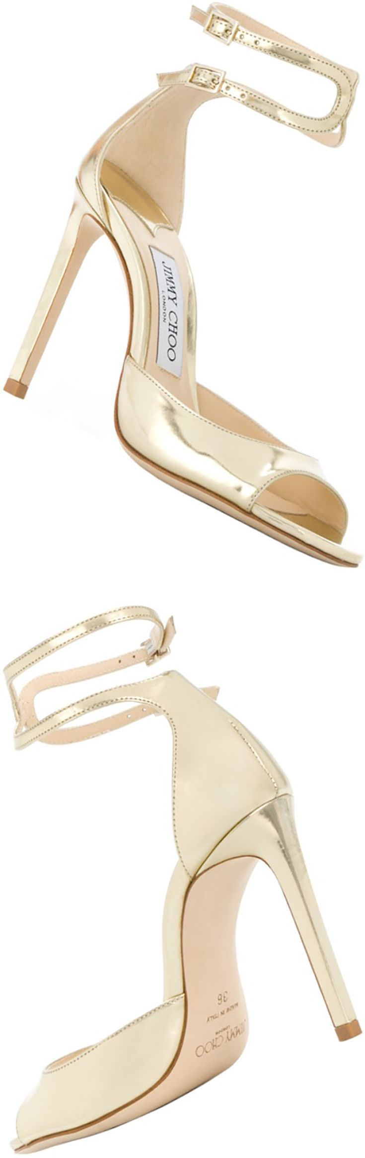 Jimmy Choo knows how to transform the ordinary into something extraordinary. These gold-tone leather Lane 100 sandals feature an almond toe, a high stiletto heel, a peep toe, a branded insole and double ankle straps with gold-tone buckles. Pair with your favourite clutch bag to really add some drama to your evening wear attire.  #sandals #shoes #jimmychoo #afflink #gold #heels #stilettoheelsjimmychoo