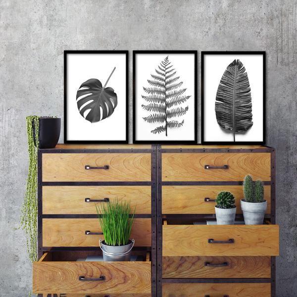 B&W Greenery prints - 3x A3 prints in black frames