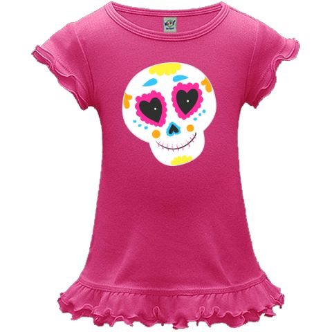 Celebrate Day of the Dead with this brightly colored Sugar Skull A-Line Baby Dresses for Dia de los Muertos.  www.inktastic.com