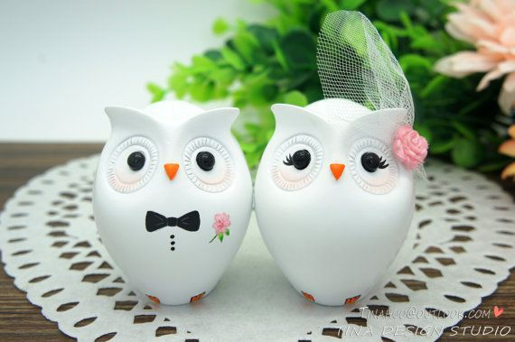 Custom Owl Wedding Cake Toppers-Unique Bride by CakeToppersByTina