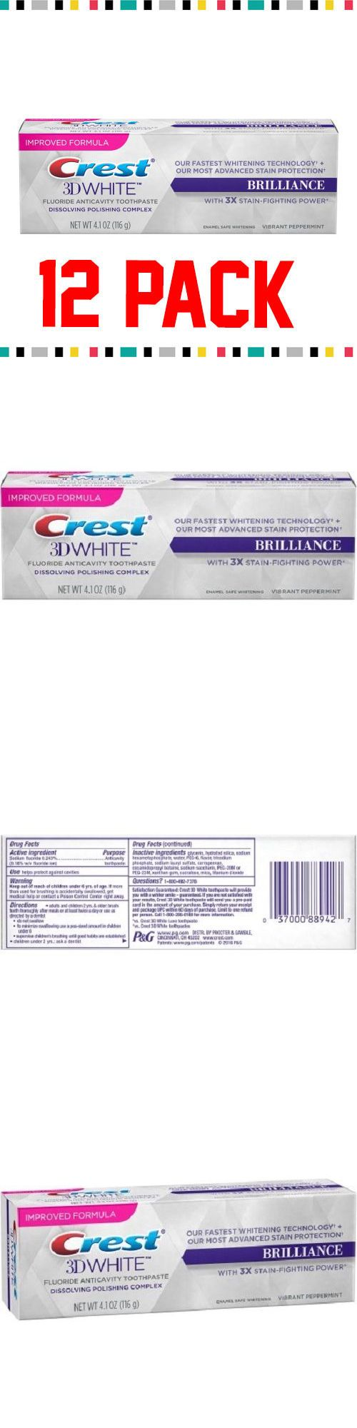 Toothpaste: 12 Pack Of Crest 3D White Brilliance Mint Toothpaste 4.1 Oz Vibrant Peppermint -> BUY IT NOW ONLY: $77.24 on eBay!