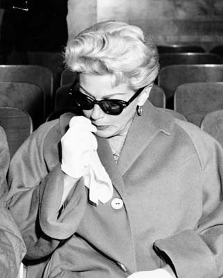 Lana Turner in court in Los Angeles (1958) after her daughter, Cheryl Crane, stabbed Lana's lover, Johnny Stompanato to death.  What a scandal that was!