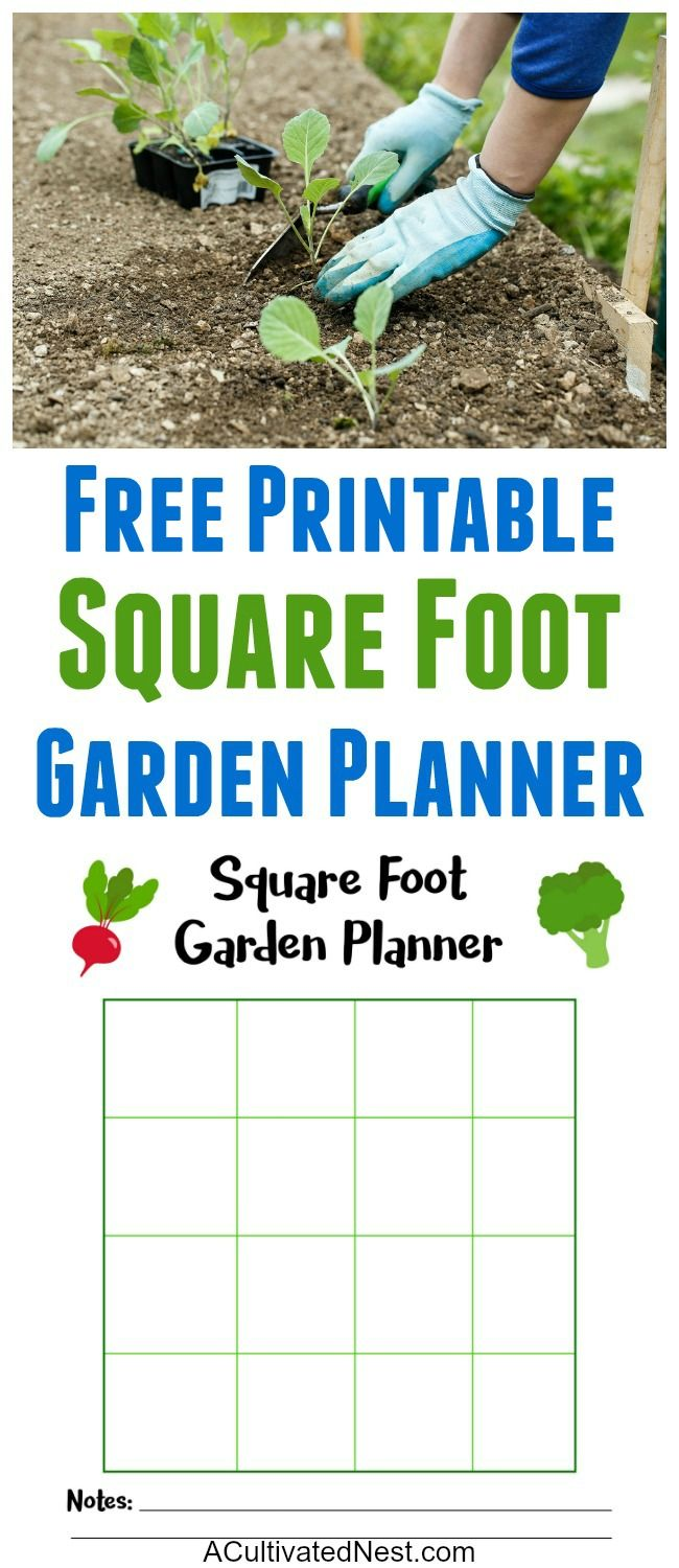 Square Foot Garden Planner Printable Outdoor Gardening Square