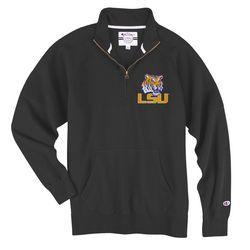 LSU Tigers 1/4 Zip Sweatshirt Charcoal - www.LSUTigersApparel.com