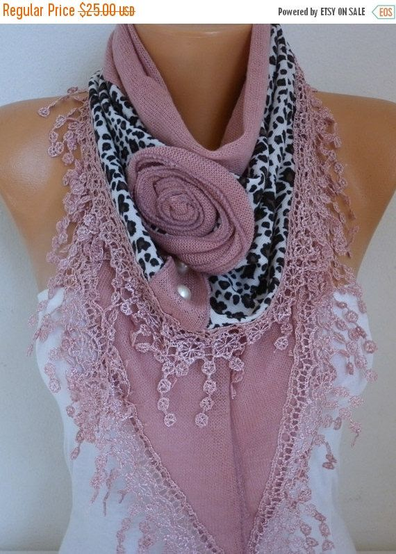Dusty Pink Knitted Floral Scarf Shawl  Lace Bridesmaid by fatwoman