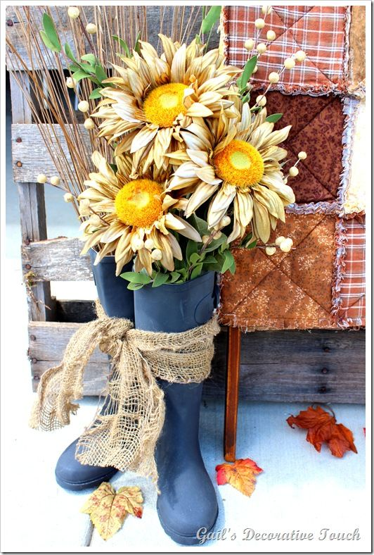 Rain Boots Flower Arrangement For My Craft Ideas Fall
