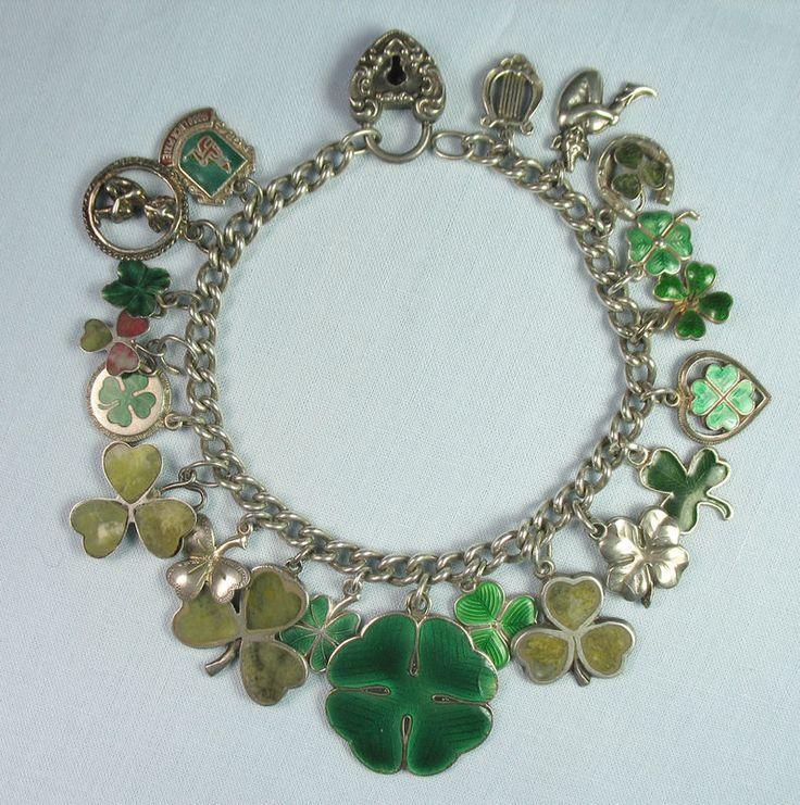 Spectacular Shamrock/Pixie/St. Patrick's Day/Irish/Vintage Silver Charm Bracelet - From the Joan Munkacsi (gelatogrrl) Estate