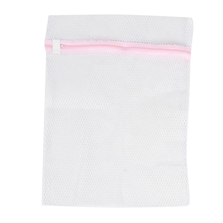 Unique Bargains Zipper Lingerie Delicate Clothes Mesh Laundry Washing Bag Travel Trip Packing Bag Home Household Pink White
