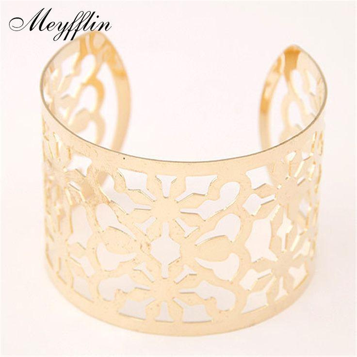 Punk Cuff Bracelets & Bangles for Women Gold/Silver Pulseira Feminina Fashion Jewelry Carving Bracelet Pulseras Mujer Bijoux
