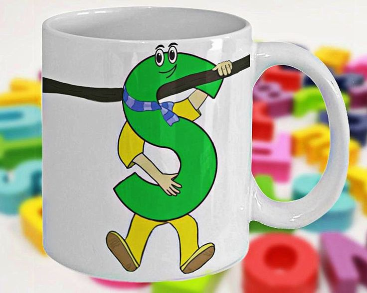 Alphabet Mug with Funny ABC Cartoon Characters as Children's Initials, Fun Gift for Kids, Letter S, 11oz, White Ceramic, Double-Sided Print by PortunaghDesign on Etsy
