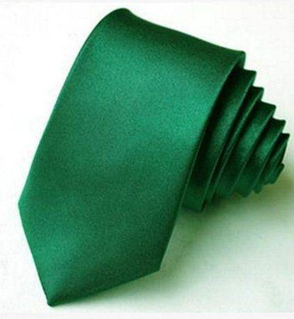 Gravata Slim Verde Escuro P/ Padrinhos, Casamentos, Formaturas - Poliéster