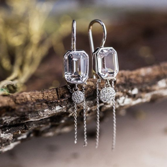 8 Ct Natural White Zircon and Natural Diamonds Earrings set in 14K White Gold, Natural White Diamonds Chandelier Earrings, Handmade Jewelry