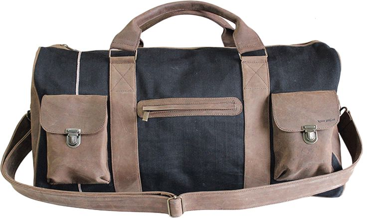 LEATHER CANVAS TRAVEL BAG  Going away for the weekend or any other journey, this beautiful all Italian leather bag can find a use for any lifestyle. Whether it's a long weekend away or an overnight stay this is the ideal companion. With its compact, roomy body and sturdy yet lightweight structure it also makes perfect hand luggage in order to any hatbox airplane measures.  Entirely hand crafted in sumptuous calfskin leather and selvedge denim 13,9 Oz. with flawless stitching and detailing…