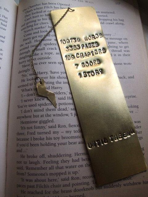 Its a metal bookmark that describes the # of words, pages, chapters, books, and the story of Harry Potter!