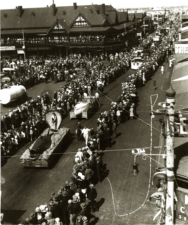 Jetty Rd, Glenelg, (that's in Adelaide, South Australia) Carnival Day 1930. At the time the Grand Hotel was managed by my grandparents, my mother Zita, aged 20, may be on the balcony! (from an original vintage photo)