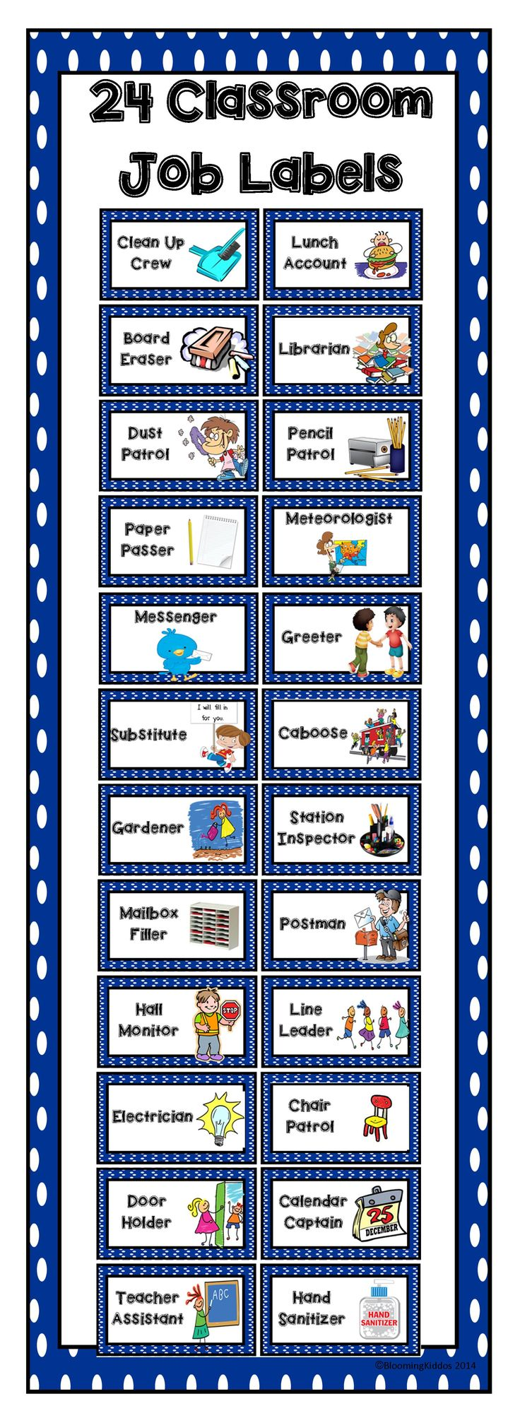 24 classroom job labels to help teach your students leadership and responsibility in the classroom.
