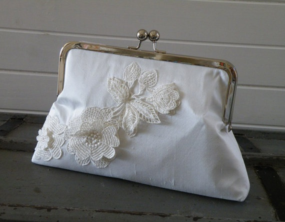 Dimensional Lace Bridal Clutch by rejenerate on Etsy, $79.00