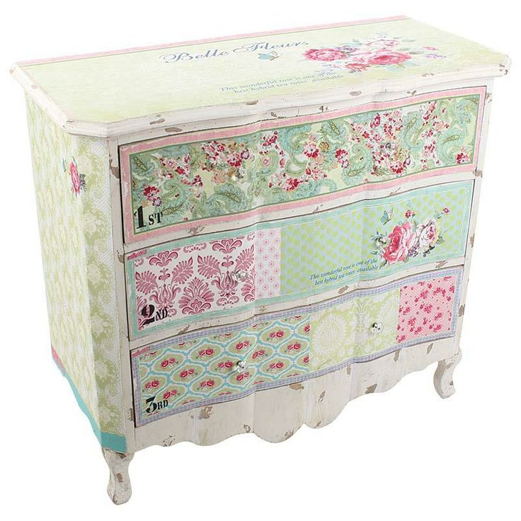Wooden drawer in pastel patchwork with roses