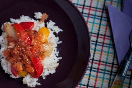 Peperonata is a mix of stewed bell peppers, and it's a perfect accompaniment to rice! So colorful, yummy and healthy! #vegelicacy