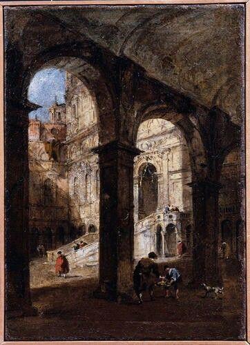 Veduta della corte di Palazzo Ducale e della Scala. 1780-1785
