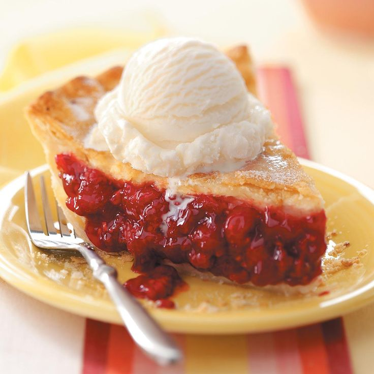 Favorite Fresh Raspberry Pie Recipe -This pretty raspberry pie was practically a staple at our house during the late summer. Our family had raspberry bushes, so the pie was always made with fresh-picked berries. —Emily Dennis, Hancock, Michigan