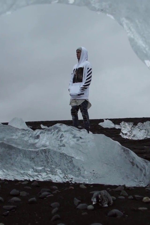 Justin Bieber wearing  Amiri Leather Inset Distressed Jeans, Yea. Nice Folded Beanie, Off-White c/o Virgil Abloh Caravaggio Sweatshirt