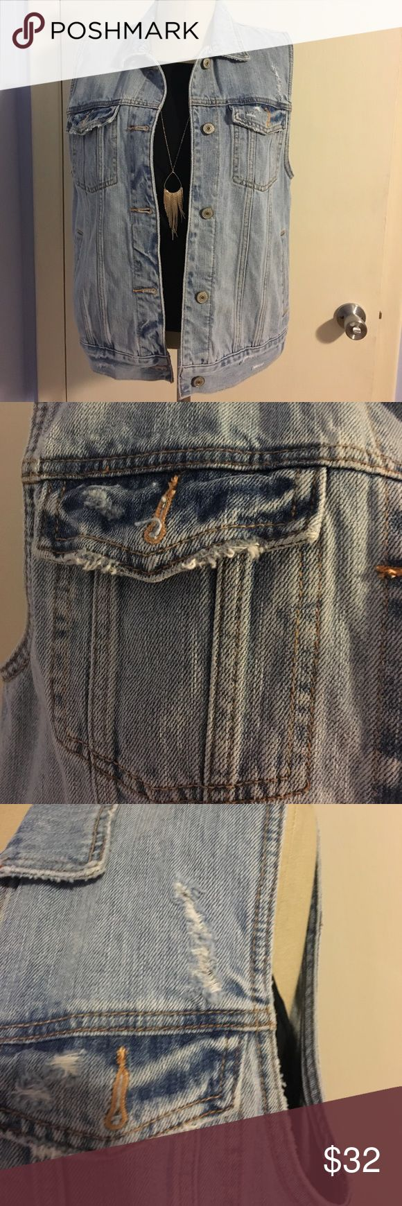 NWT ABERCROMBIE AND FITCH DENIM VEST Adorable denim vest with distressing detailing on pockets. New with tags! Open to offers! Abercrombie & Fitch Jackets & Coats Vests