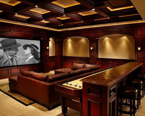 Marvellous Irish Pub Decorating Ideas With Vintage And Classic Touch: Traditional Media Room Century Irish Pub Bar And Theater Marble Countertops And Bar Stool Seating ~ moabc.net Basement Designs Inspiration