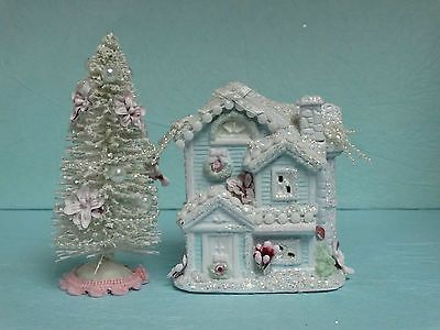 Christmas Chic Village Small Victorian House Snow Covered Sisal Trees