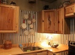 Image result for corrugated metal walls in kitchen