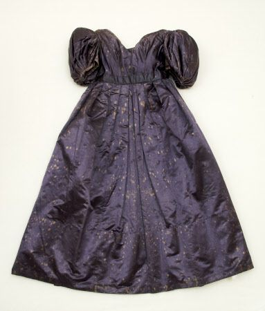Underdress - Part of a woman's satin dress with overdress dating from c1835. Dress Fabric - Purple navy satin. National Trust. Nancy Bradfield dates 1830-33
