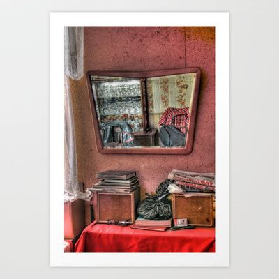 Mirror in old house Art Print by Marcela Ponce - $31.20