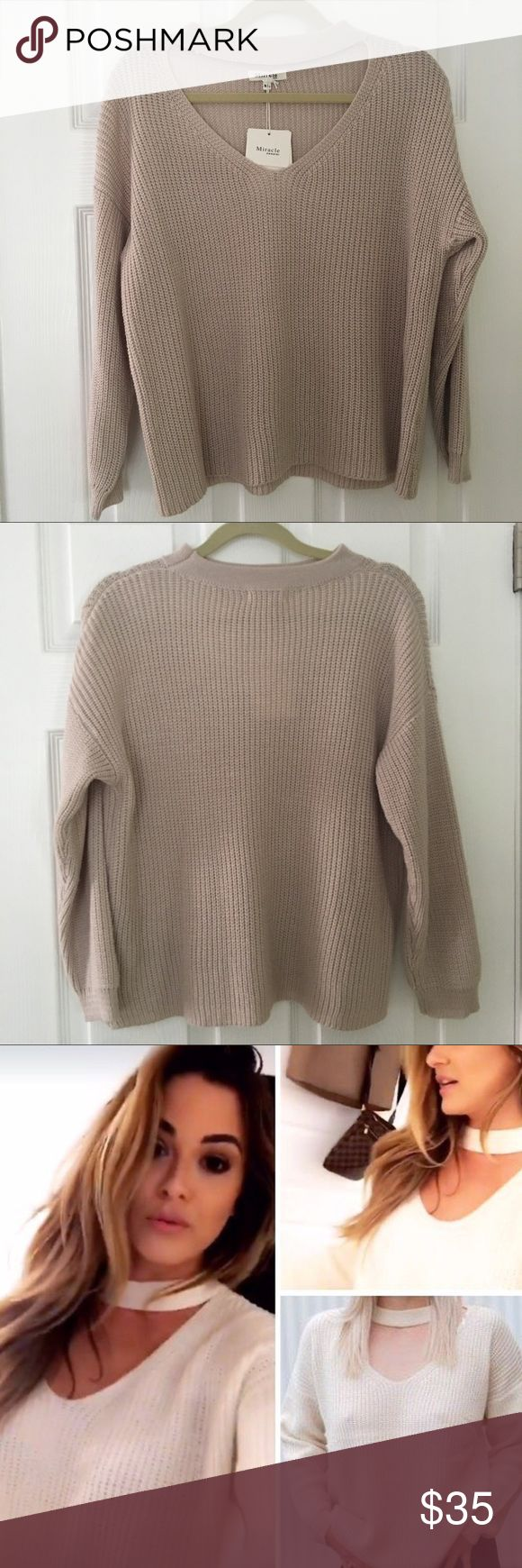 "Knit Choker Sweater Brand new with tags. Brand is ""Miracle USA"". Purchased from Jojo Fletcher's collection with Ooh La Luxe boutique. Marked as Brandy Melville for more visibility! Brandy Melville Sweaters Crew & Scoop Necks"