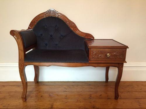 Vintage Telephone Seat Chair Meuble Telephone Meuble Ameublement