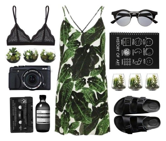 """Green & Black"" by whateveerforever ❤ liked on Polyvore featuring Topshop, American Rag Cie, Retrò, Floyd, Fujifilm, Aesop, Threshold and Cosabella"