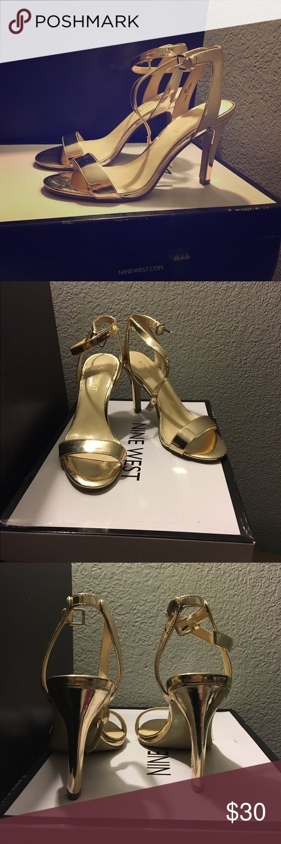 Gold strap heels Nine West all gold strap sandal heels. Size 6. The name of the style is 'Anistono Lama', super cute! I bought them for a ball to match my dress and probably won't wear them again but they were super comfortable and they've only been worn once! 😊 The heel is about 2 inches high, so just enough to add the extra glam and comfy enough to dance in! I usually wear a size 6 - 6 1/2 and these fit perfectly Nine West Shoes Heels